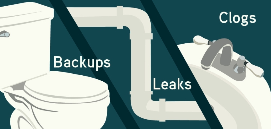 Toilet backups, pipe leaks, and sink clogs in the home.